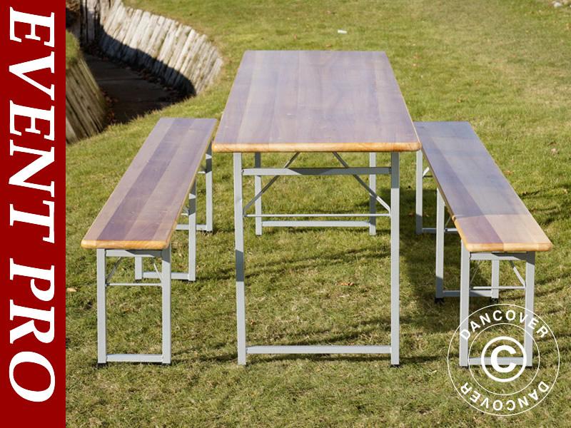 Ensemble table et bancs de jardin en bois pour tous les évènements